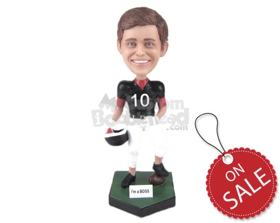 Custom Bobblehead Young Male Football Player Posing With The Ball Under His Feet - Sports & Hobbies Football Personalized Bobblehead & Cake Topper