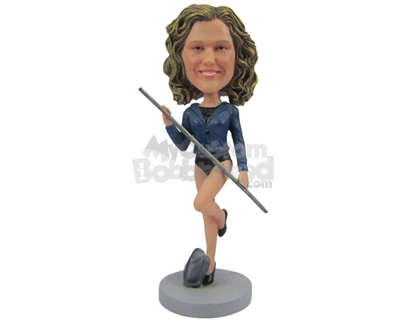 Custom Bobblehead Female Dancer Showing Off Her Moves - Sports & Hobbies Pole Vault Personalized Bobblehead & Cake Topper