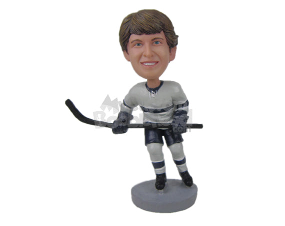Custom Bobblehead Attractive Ice Hockey Dude With His Hockey Sticks In Hand - Sports & Hobbies Ice & Field Hockey Personalized Bobblehead & Cake Topper