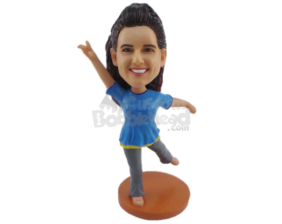 Custom Bobblehead Female Dancer Practicing Her Best Moves - Sports & Hobbies Dancing Personalized Bobblehead & Cake Topper