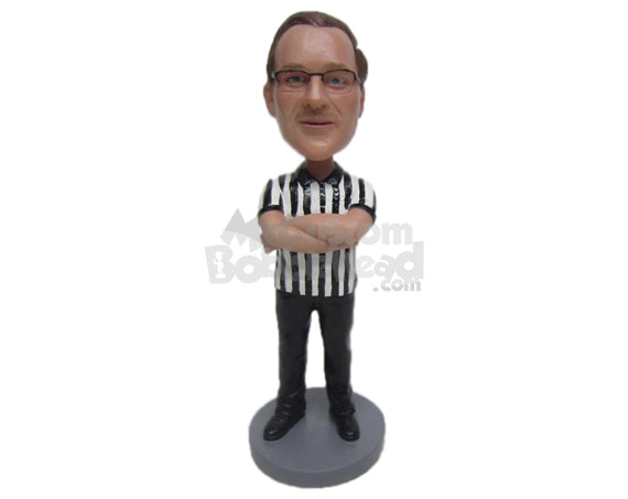 Custom Bobblehead Handsome Referee Waiting For The Game To Begin - Sports & Hobbies Coaching & Refereeing Personalized Bobblehead & Cake Topper