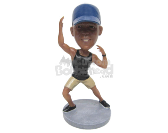 Custom Bobblehead Muscular Male Dancer Dancing Like A Pro - Sports & Hobbies Dancing Personalized Bobblehead & Cake Topper