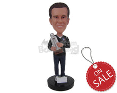Custom Bobblehead Proud Athlete Showing Off Winning Trophy - Sports & Hobbies Running Personalized Bobblehead & Cake Topper