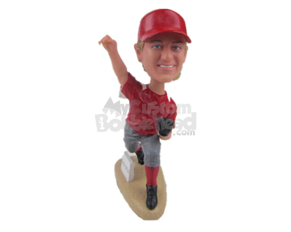 Custom Bobblehead Male Baseball Pitcher In His Follow Through After Pitching The Ball - Sports & Hobbies Baseball & Softball Personalized Bobblehead & Cake Topper