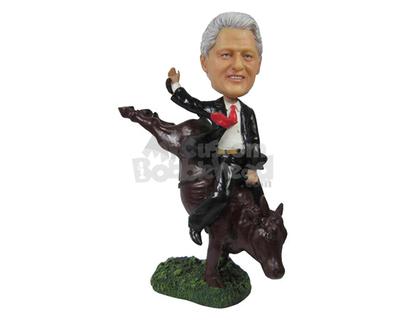 Custom Bobblehead Bull Rider Giving It To The Bull - Sports & Hobbies Animal Riding Personalized Bobblehead & Cake Topper