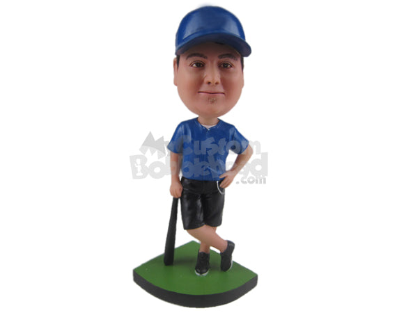 Custom Bobblehead Male Baseball Player Holding A Bat And Standing Cross Legged - Sports & Hobbies Baseball & Softball Personalized Bobblehead & Cake Topper