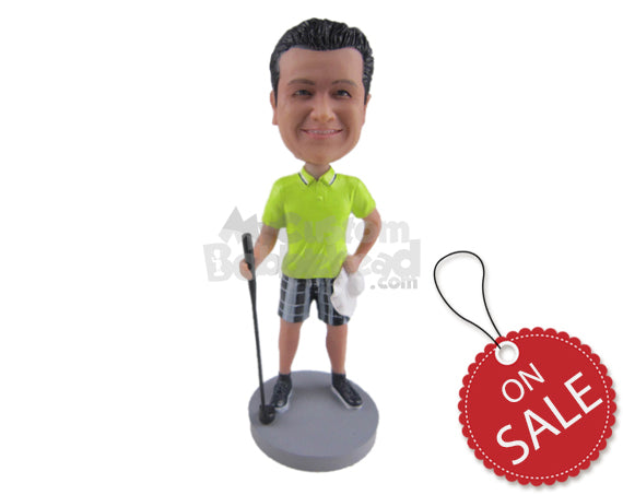 Custom Bobblehead Attractive Golfer Dude Wearing T-Shirt And Shorts And Posing With Golf Club - Sports & Hobbies Golfing Personalized Bobblehead & Cake Topper