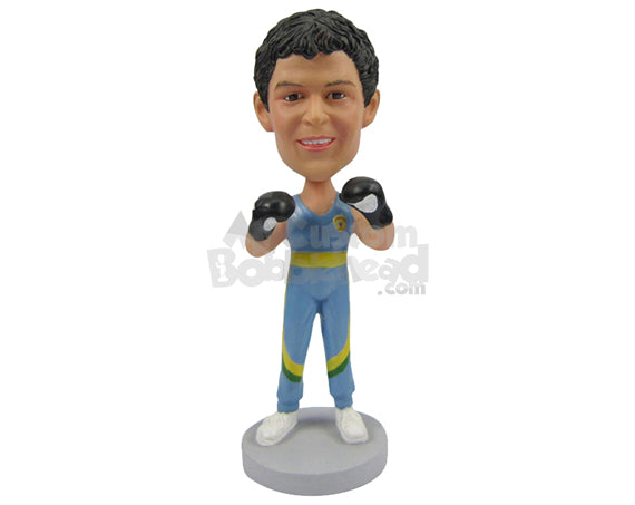 Custom Bobblehead Freestyle Boxer Ready To Punch You Hard - Sports & Hobbies Boxing & Martial Arts Personalized Bobblehead & Cake Topper