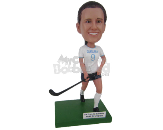 Custom Bobblehead Female Field Hockey Player Running With Hockey Stick - Sports & Hobbies Ice & Field Hockey Personalized Bobblehead & Cake Topper