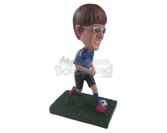 Custom Bobblehead Male Soccer Player Running With The Ball Between Feet - Sports & Hobbies Soccer Personalized Bobblehead & Cake Topper