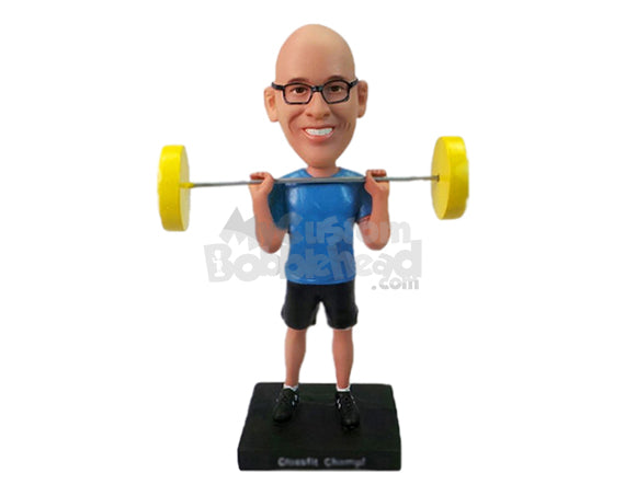 Custom Bobblehead Male Weight Lifter Lifting With Ease - Sports & Hobbies Weight Lifting & Body Building Personalized Bobblehead & Cake Topper