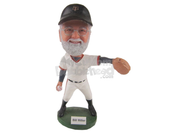 Custom Bobblehead Fast Baseball Pitcher In His Pitching Stride - Sports & Hobbies Baseball & Softball Personalized Bobblehead & Cake Topper