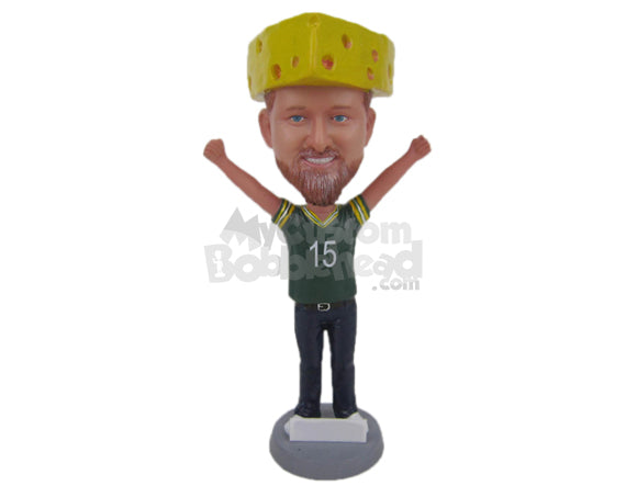Custom Bobblehead Cool Football Fan With Hands In The Air In Delight - Sports & Hobbies Yoga & Relaxation Personalized Bobblehead & Cake Topper