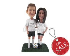 Custom Bobblehead Soccer Player Couple Posing For Pictures - Sports & Hobbies Soccer Personalized Bobblehead & Cake Topper