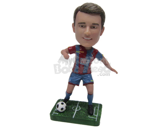 Custom Bobblehead Male Soccer Player Showing Some Soccer Skill - Sports & Hobbies Soccer Personalized Bobblehead & Cake Topper