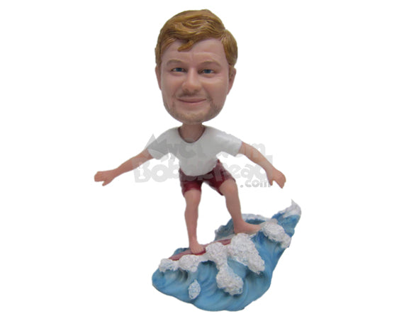 Custom Bobblehead Charming Male Surfer Surfing In The Sea - Sports & Hobbies Surfing & Water Sports Personalized Bobblehead & Cake Topper
