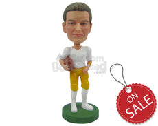 Custom Bobblehead Attractive Football Player About To Run With The Ball In Hand - Sports & Hobbies Football Personalized Bobblehead & Cake Topper