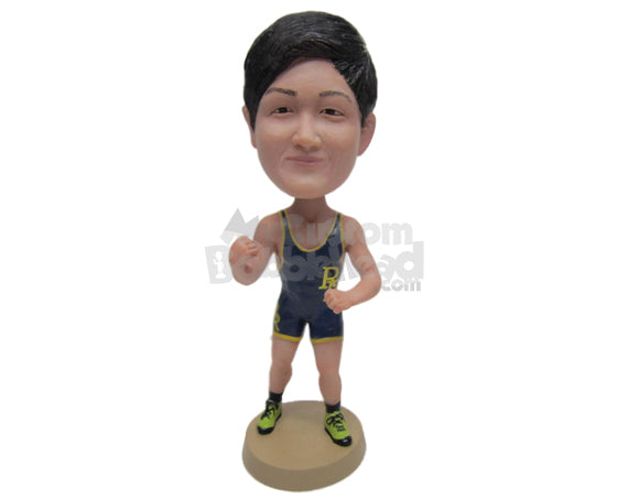Custom Bobblehead Male Wrestler In Full Wrestling Gear Ready For A Fight - Sports & Hobbies Boxing & Martial Arts Personalized Bobblehead & Cake Topper