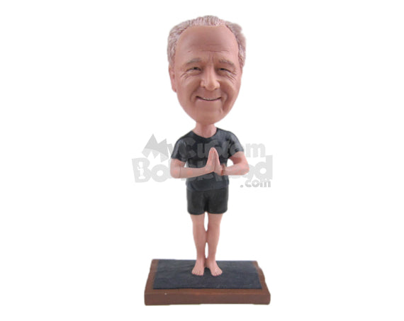Custom Bobblehead Male Relaxing In Yoga Position - Sports & Hobbies Yoga & Relaxation Personalized Bobblehead & Cake Topper