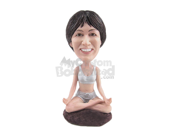 Custom Bobblehead Gorgeous Lady Wearing Sporting Clothing Doing Yoga - Sports & Hobbies Yoga & Relaxation Personalized Bobblehead & Cake Topper