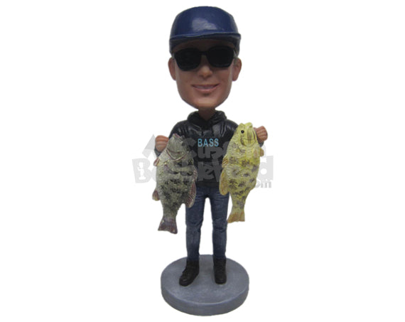 Custom Bobblehead Cool Dude Wearing Sweatshirts And Jeans Posing With 2 Fish In Hand - Sports & Hobbies Fishing Personalized Bobblehead & Cake Topper