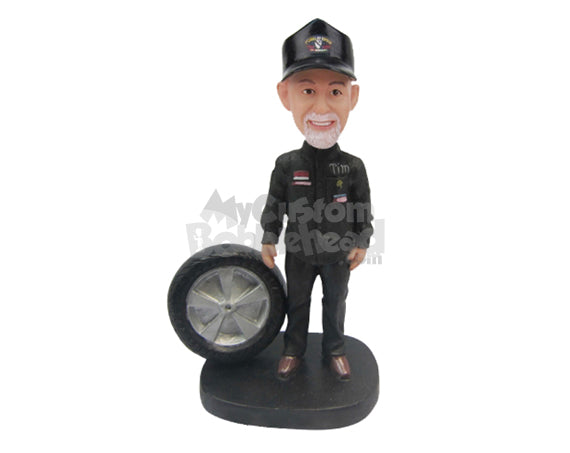 Custom Bobblehead Car Racer Mechanic Posing With Tire And Tools - Sports & Hobbies Car Racing Personalized Bobblehead & Cake Topper