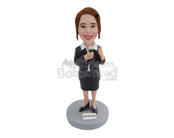 Custom Bobblehead Cute Female Wearing Formal Attire Singing A Song - Sports & Hobbies Miscellaneous Hobbies Personalized Bobblehead & Cake Topper