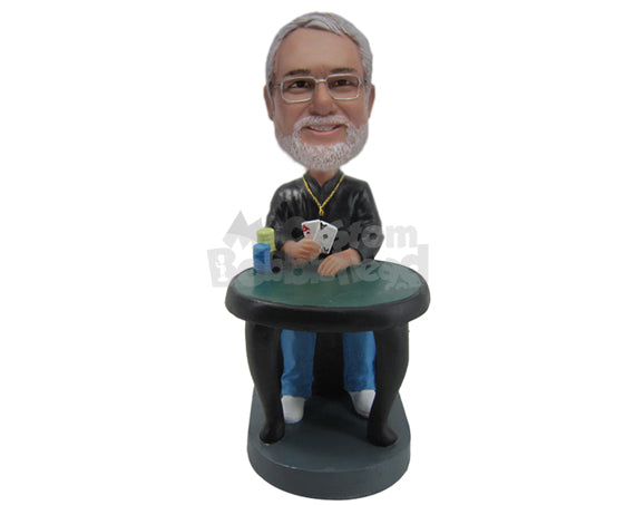 Custom Bobblehead Cool Dude Gambler Wining The Round With A Pair Of Aces - Sports & Hobbies Gambling Personalized Bobblehead & Cake Topper