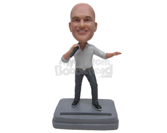 Custom Bobblehead Male Standup Comedian Telling Dirty Jokes - Sports & Hobbies Miscellaneous Hobbies Personalized Bobblehead & Cake Topper