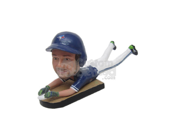Custom Bobblehead Male Baseball Player Sliding For The Win - Sports & Hobbies Skiing & Skating Personalized Bobblehead & Cake Topper