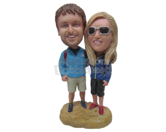 Custom Bobblehead Charming Hiking Couple Going Around The Globe Looking For Adventure - Sports & Hobbies Hunting & Outdoors Personalized Bobblehead & Cake Topper