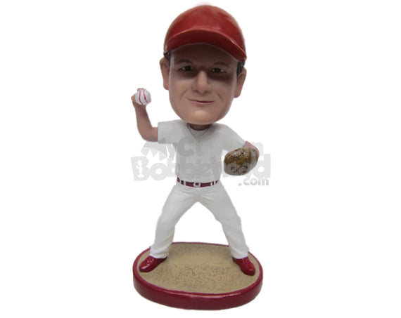 Custom Bobblehead Male Baseball Pitcher Ready With The Ball In Hand - Sports & Hobbies Baseball & Softball Personalized Bobblehead & Cake Topper