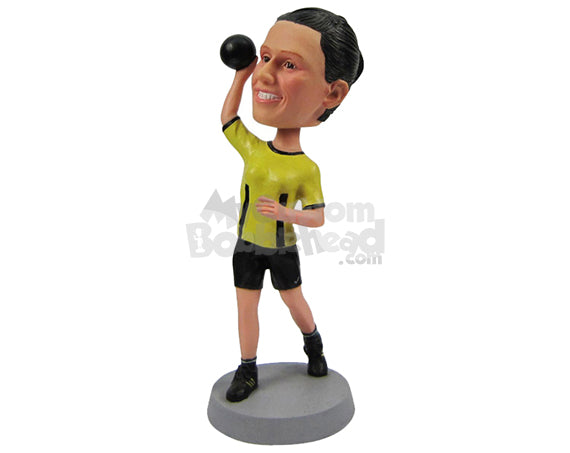 Custom Bobblehead Female Fitness Aficionado Lifting Some A Dumbbell - Sports & Hobbies Weight Lifting & Body Building Personalized Bobblehead & Cake Topper