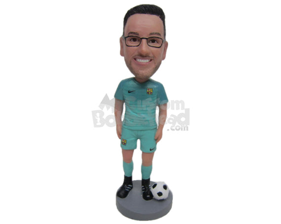 Custom Bobblehead Male Soccer Player Standing With The Ball Next To Him - Sports & Hobbies Soccer Personalized Bobblehead & Cake Topper