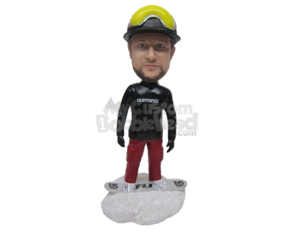 Custom Bobblehead Cool Dude Snow Boarder Posing With Board Under Feet - Sports & Hobbies Skiing & Skating Personalized Bobblehead & Cake Topper