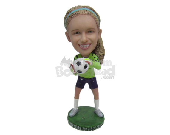 Custom Bobblehead Gorgeous Female Soccer Goalie Catching The Ball - Sports & Hobbies Soccer Personalized Bobblehead & Cake Topper