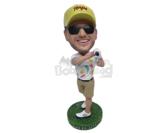 Custom Bobblehead Male Golfer Happy With The Shot He Played - Sports & Hobbies Golfing Personalized Bobblehead & Cake Topper