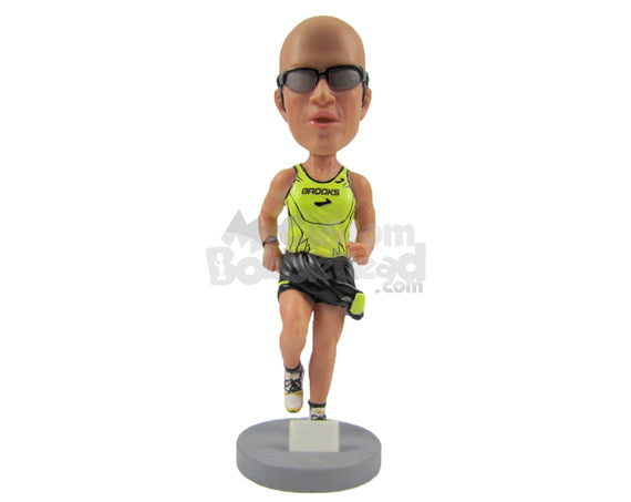 Custom Bobblehead Male Marathon Athlete Running With All Force - Sports & Hobbies Running Personalized Bobblehead & Cake Topper
