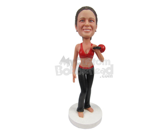 Custom Bobblehead Female Fitness Queens Wearing Sexy Gym Attire - Sports & Hobbies Weight Lifting & Body Building Personalized Bobblehead & Cake Topper