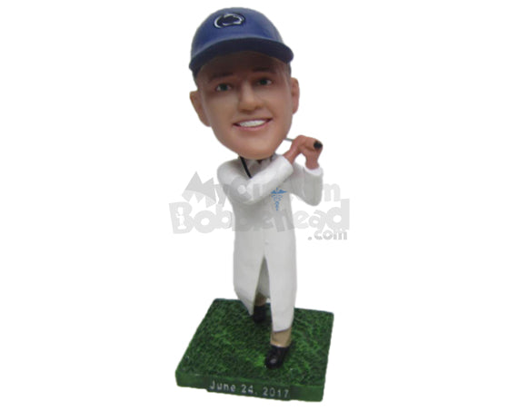 Custom Bobblehead Doctor Golfer Hitting A Hole In One - Sports & Hobbies Golfing Personalized Bobblehead & Cake Topper
