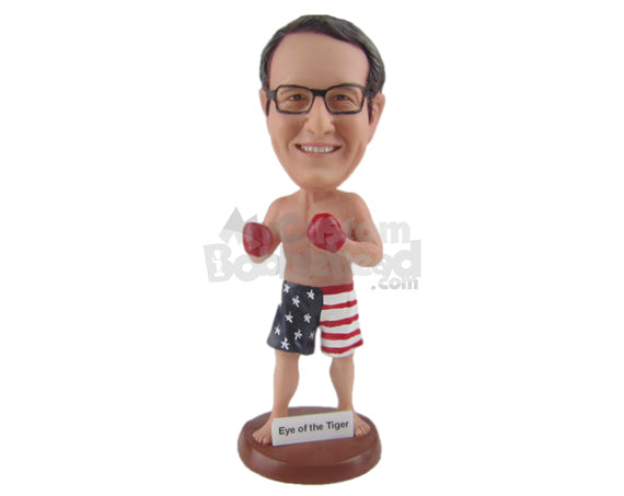 Custom Bobblehead Boxer Aficionado In Shorts Happy To Be In The Ring - Sports & Hobbies Boxing & Martial Arts Personalized Bobblehead & Cake Topper