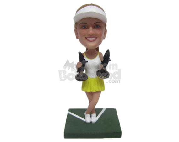 Custom Bobblehead Beautiful Female Tennis Player Holding Two Grand Slam Trophies - Sports & Hobbies Tennis Personalized Bobblehead & Cake Topper