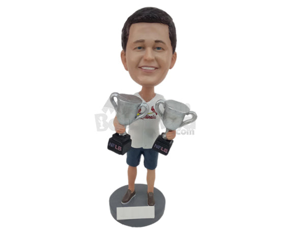 Custom Bobblehead Charming Sports Aficionado Posing With 2 Trophies - Sports & Hobbies Sports Aficionados Personalized Bobblehead & Cake Topper