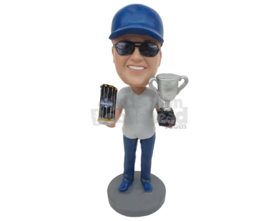Custom Bobblehead Male Baseball Fan Posing With His Trophy After Winning The Title - Sports & Hobbies Sports Aficionados Personalized Bobblehead & Cake Topper