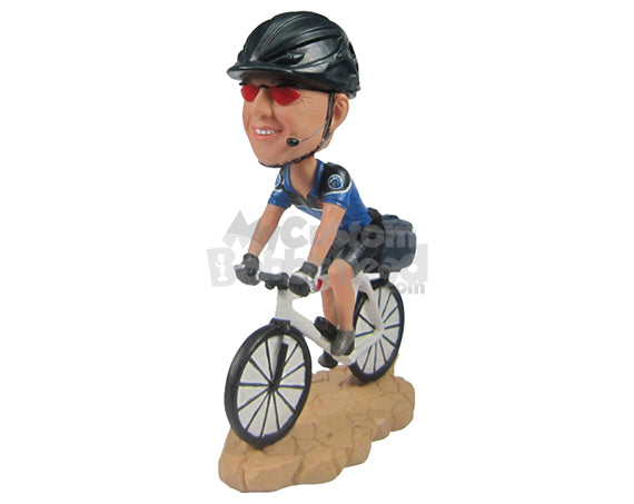 Custom Bobblehead Male Cyclist In Cycling Outfit Racing With His Bicycle - Sports & Hobbies Cycling Personalized Bobblehead & Cake Topper