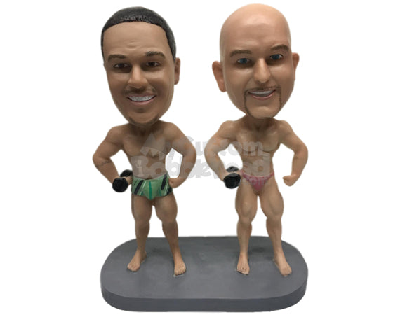 Custom Bobblehead Bodybuilding Pals Working On Their Bodies For The Chicks - Sports & Hobbies Weight Lifting & Body Building Personalized Bobblehead & Cake Topper
