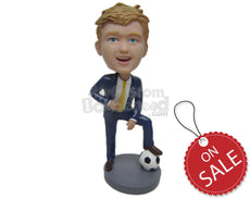 Custom Bobblehead Young Corporate Executive Soccer Fan Stepping On The Ball - Sports & Hobbies Soccer Personalized Bobblehead & Cake Topper