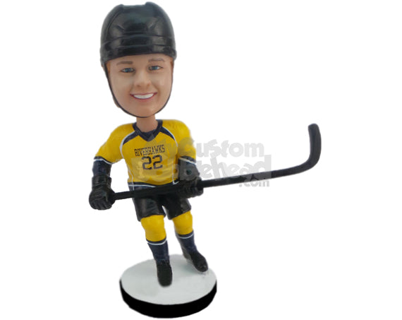 Custom Bobblehead Ice Hockey Player Skating Towards The Other Goal - Sports & Hobbies Ice & Field Hockey Personalized Bobblehead & Cake Topper