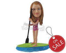 Custom Bobblehead Young Sexy Girl Paddle Boarding On The Lake - Sports & Hobbies Surfing & Water Sports Personalized Bobblehead & Cake Topper