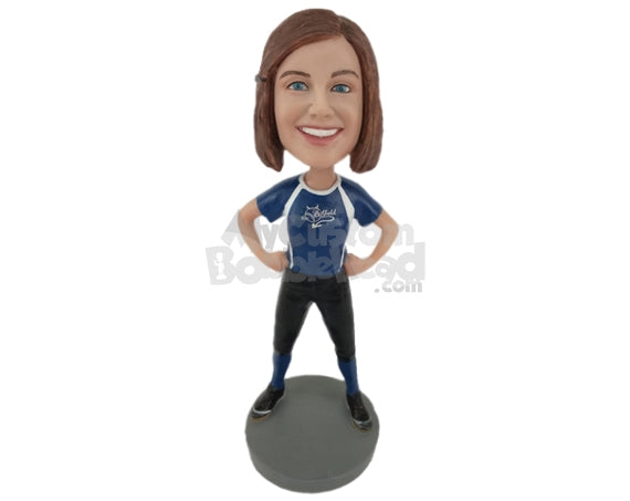 Custom Bobblehead Female Softball Player Giving Some Attitude - Sports & Hobbies Football Personalized Bobblehead & Cake Topper